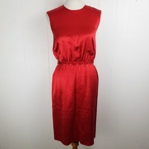 SOLD Lanvin 2009 Red Silk Ruffle Sheath Dress 34